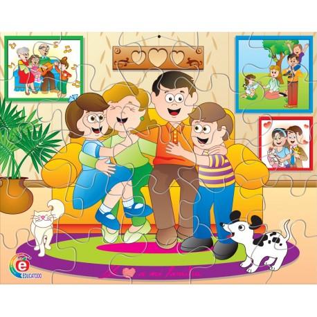 Rompecabezas la familia en caja de carton educatodonayarit - Caja rompecabezas ...