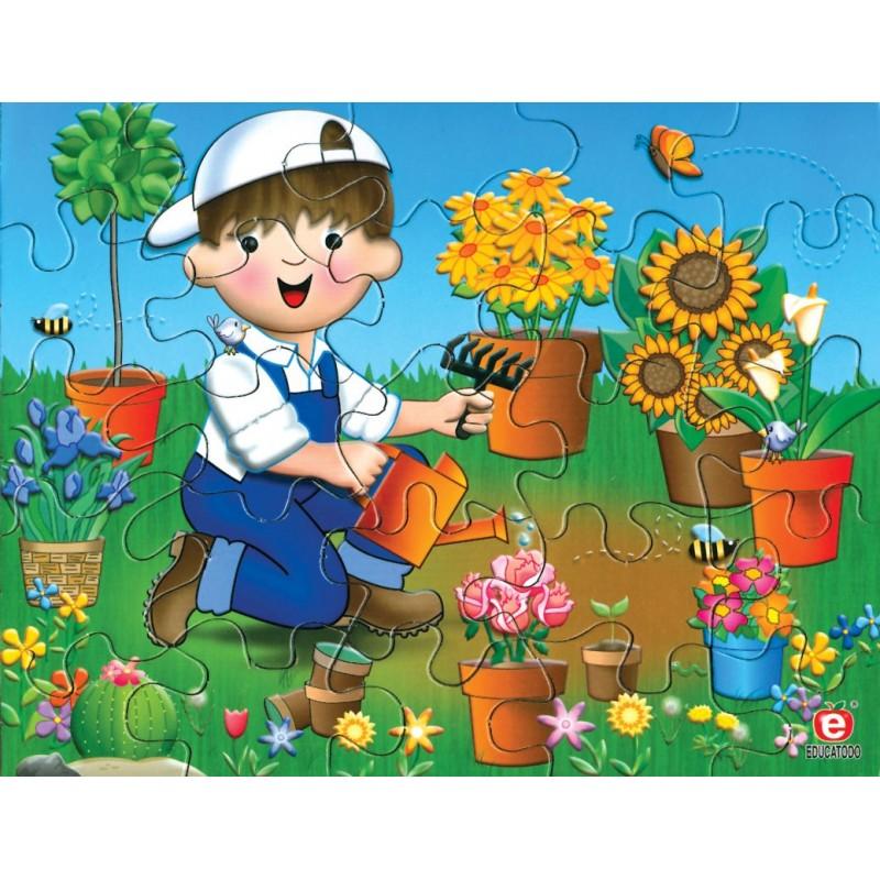 Rompecabezas cuidando las plantas en caja de carton educatodonayarit - Caja rompecabezas ...