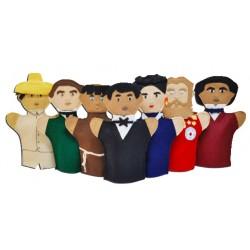 JUEGO DE 7 GUIÑOLES BENITO JUAREZ Y PESONAJES